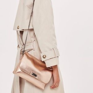 Topshop Rose Gold with Chain Strap Crossbody Purse